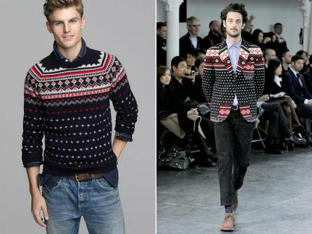 J. Crew fair isle sweater, Junya Watanabe blazer