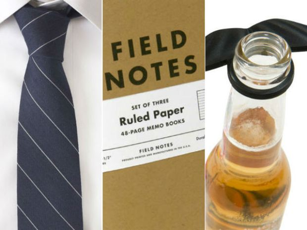Wool tie, Field Notes notebook, Beer Bottle Mustache